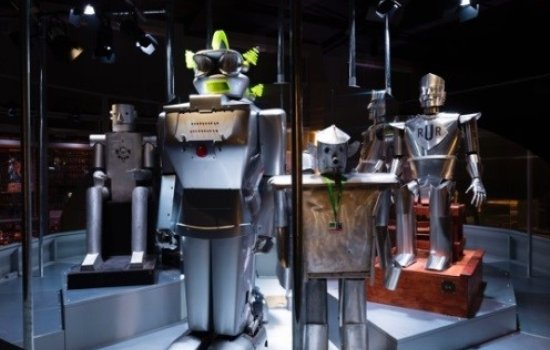 Humanoid robots on display at the Robots exhibition
