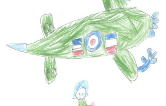 Child's drawing of a Second World War plane and pilot