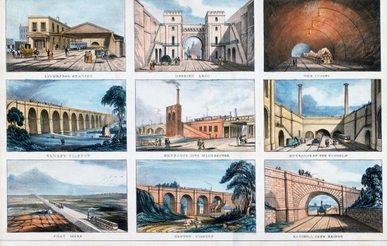 Nine small prints on one sheet of the Liverpool and Manchester Railway (c.1833). From a colour transparency in the Science Museum Photographic Archive.