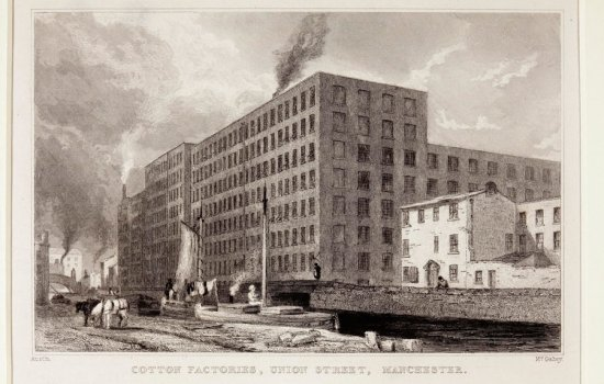Cotton factories, Union Street, Manchester, around 1820