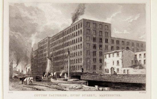 Cotton factories, Union Street, Manchester, around 1820