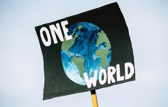A protest sign with the Earth and the words 'One World' on it