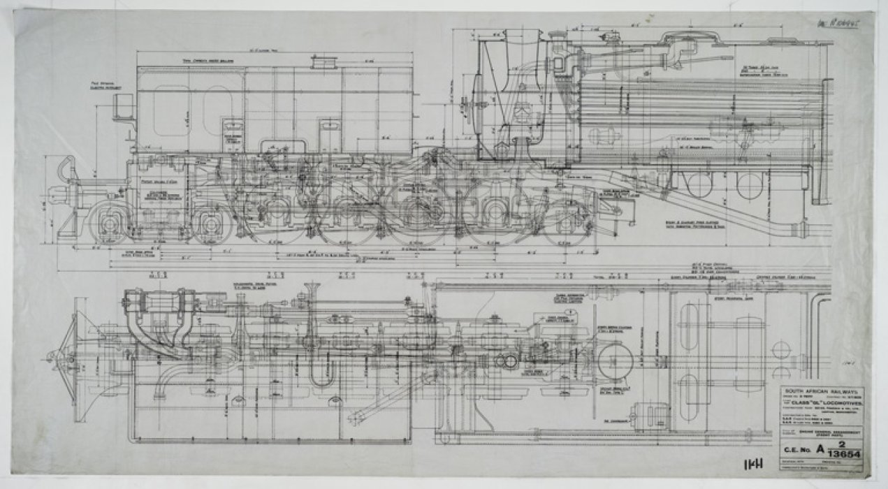 Engineering drawing for the South African GL Class Beyer-Garratt in the Power Hall