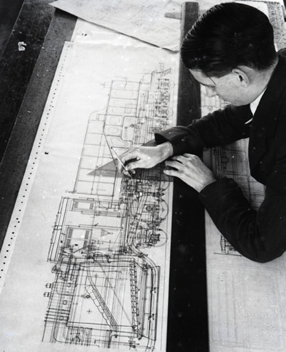 Draftsman at work in Gorton