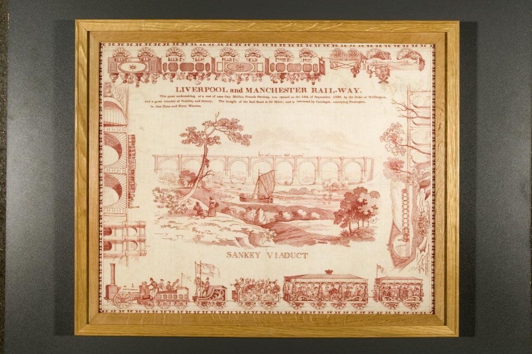 Handkerchief depicting the Sankey viaduct, commemorating the Liverpool & Manchester Railway, c.1830