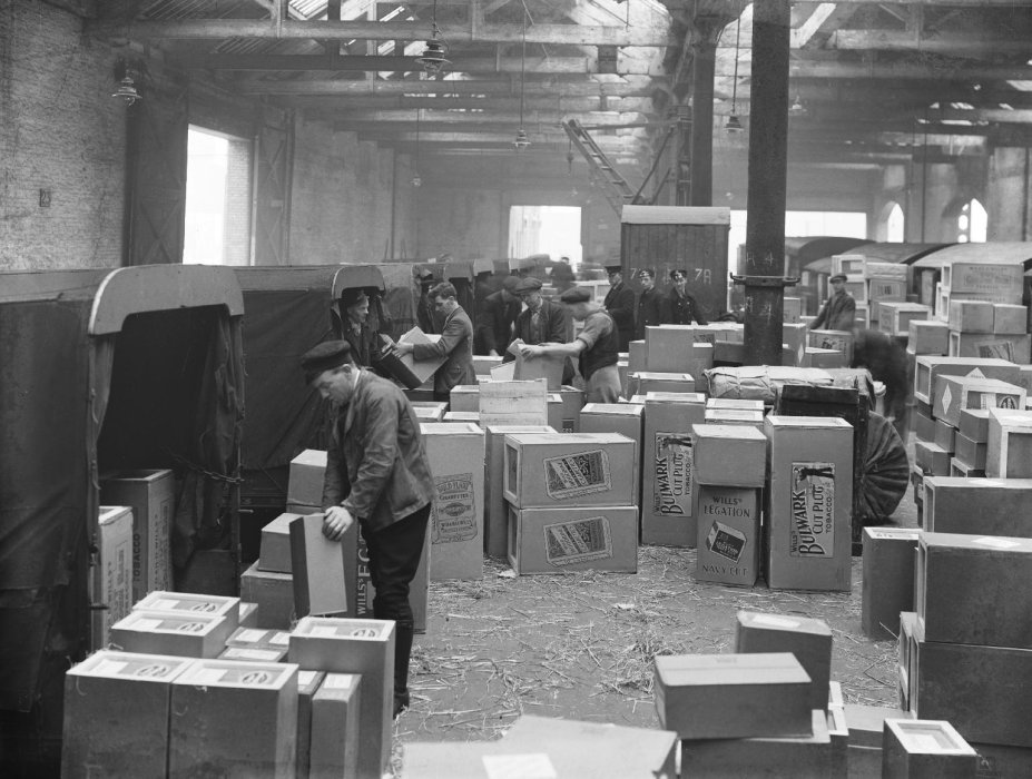 Tobacco boxes at a Manchester goods depot, 1934