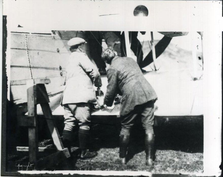 Alcock and Mechanics Working on Vickers Vimy, Newfoundland