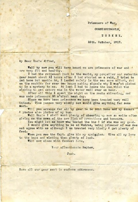 Typescript letter written by Alcock whilst he was a prisoner of war in Turkey, October 1917