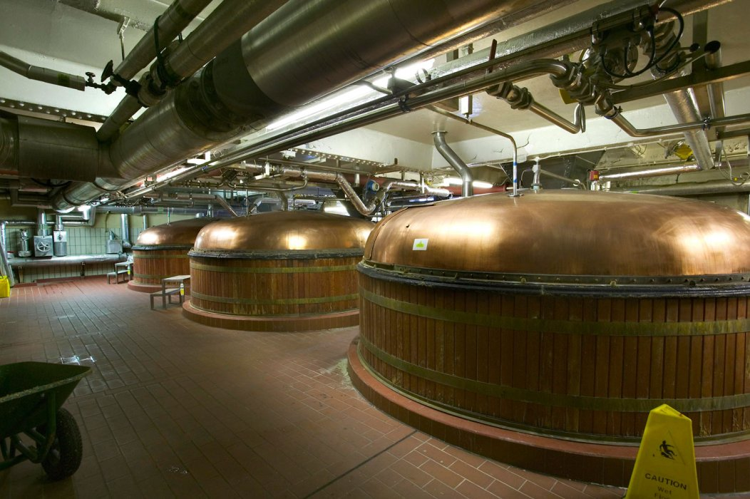Two metal stills from the Boddington's Brewery
