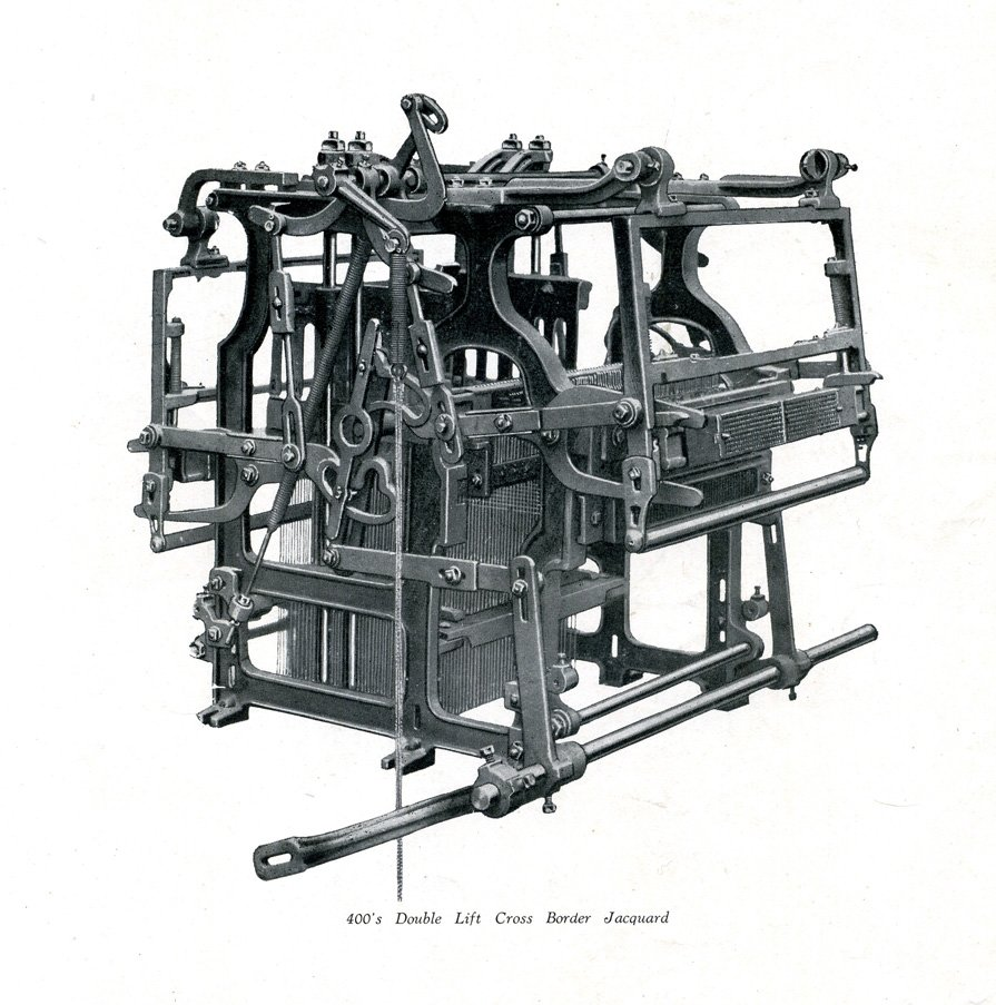 Jacquard mechanism manufactured by Devoge and Co. of Manchester