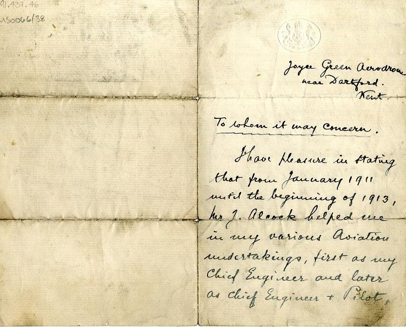 Letter of Reference for Jack Alcock from Maurice Ducrocq