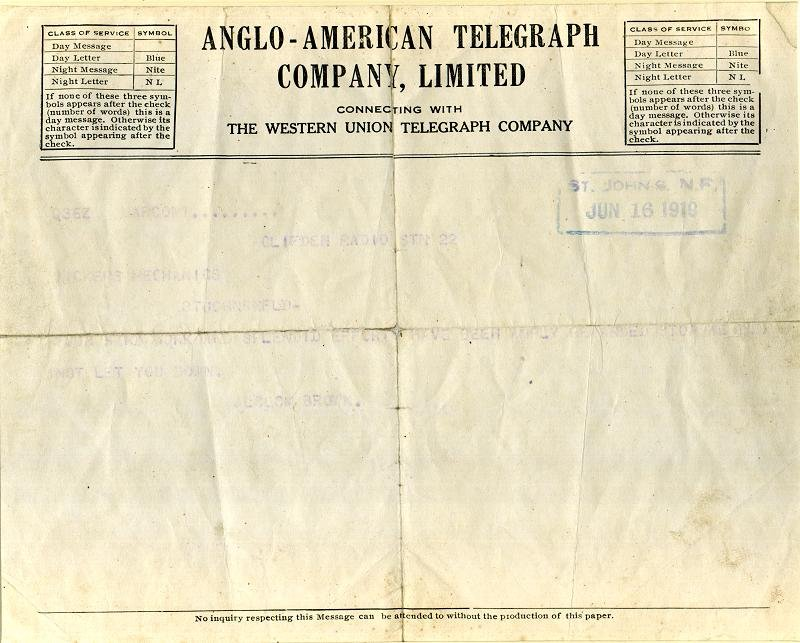 Telegram sent by aviators Jack Alcock and Arthur Whitten Brown