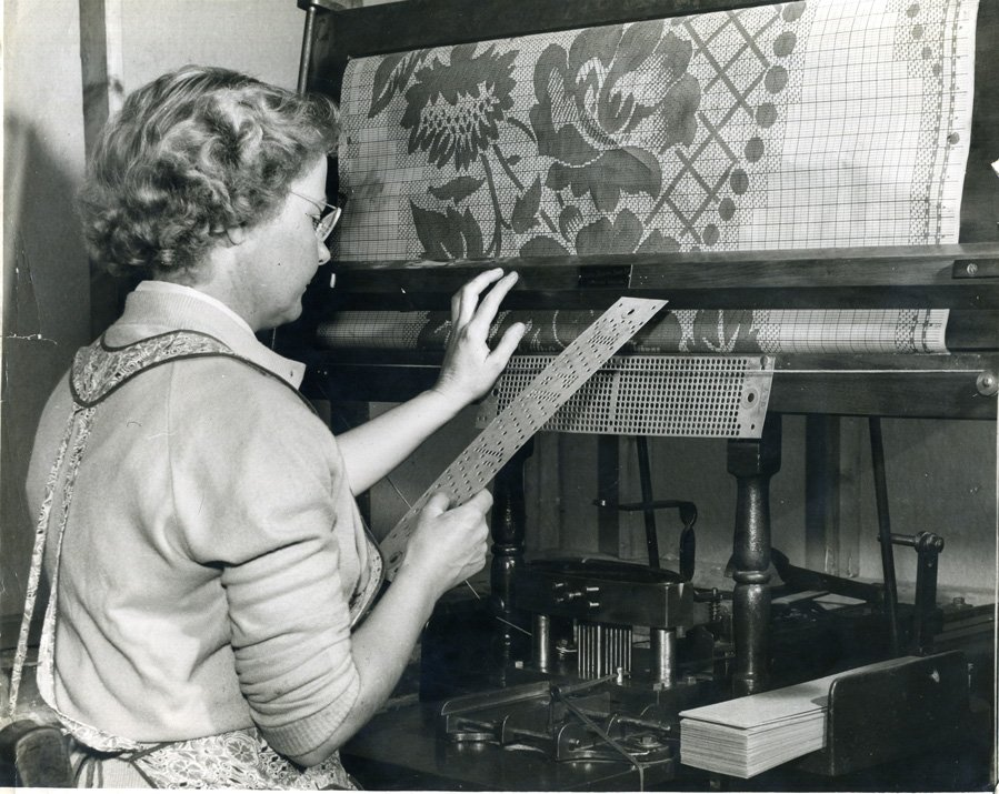 Card maker using a machine to translate a pattern onto punch cards