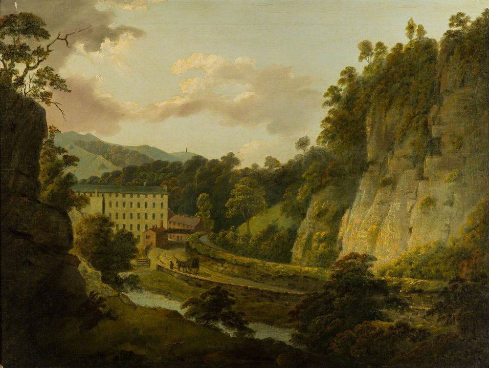 Richard Arkwright's mill in Cromford, Derbyshire, by Joseph Wright of Derby, around 1795