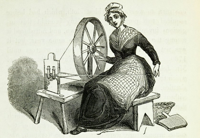 Illustration of a woman operating a spinning wheel