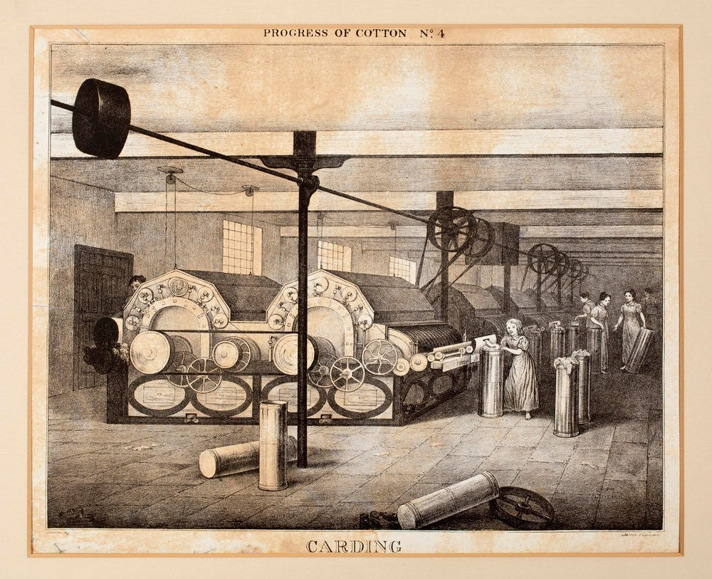 Engraving showing different stages in producing cotton fabric