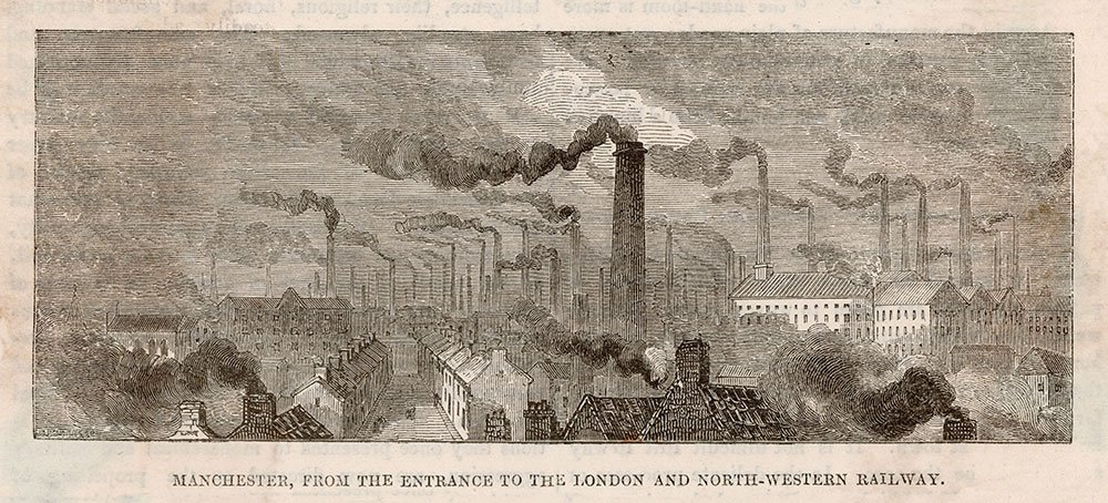 A moody drawing of rows of terraced houses and factories with many chimneys releasing clouds of smoke