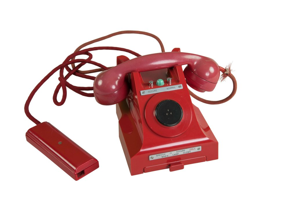An old red telephone